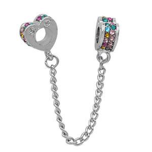 Heart Safety Chain Charm & Rhinestones for European Bracelet Silver Plate (W147)