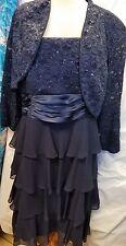 R & M Richards 2 PCS Knee Length Dress w/ Lace Bolero Navy Plus Size 14W NWT
