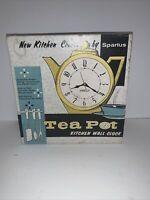 Vintage Spartus Red Teapot Wall Clock Quartz Kitchen/Shelf 50s 60s Retro NOS