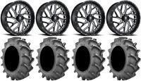 """Fuel Triton Black 24"""" Wheels 40x8.3 BKT 171 Tires Sportsman RZR Ranger"""