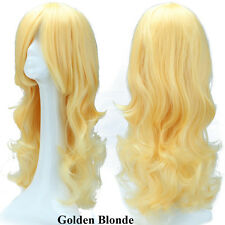 HOT Trendy Long Ombre Cosplay Wig Curly Wavy Party Costume Women Pink Red Wig #a
