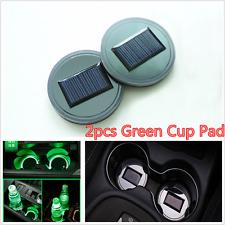 2 X Universal Solar Cup Holder Bottom Pad LED Light Trim Green Atmosphere Lamp