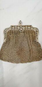 antique brass chain mail coin purse