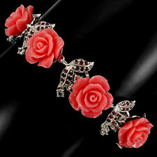 Sterling Silver 925 Genuine Ruby, White Topaz & Resin Rose Bracelet 7.5 Inch