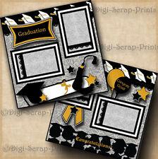 GRADUATION ~ 2 pre-made scrapbook pages paper piecing layout school ~ DIGISCRAP