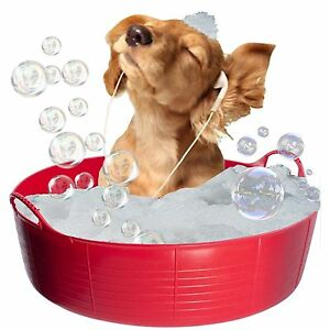 RED DOG BATH, DOG PADDLING POOL, DOGGY POOL, FLEXI SHALLOW 35L TUBTRUG PET POOL
