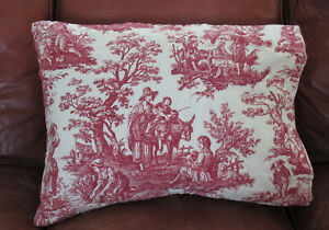 2 Waverly COUNTRY LIFE Red Toile Standard Pillow Shams Quilted Custom Open Ends