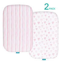 Baby Bassinet Fitted Sheets for MiClassic 100% Jersey Knit Cotton 2 Pack Pink