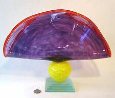 "BIG 14"" Signed CHRISTIAN THIRION Memphis Style Studio Art Glass Bowl Sculpture"
