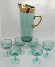 Vintage AQUA BLUE Glass Martini COCKTAIL PITCHER SET Six Glasses 22kt Gold Trim