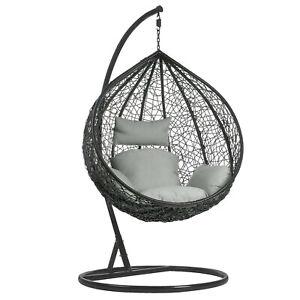 Rattan Garden Furniture Swing Chair Cushion Hanging Egg Outdoor Indoor Patio