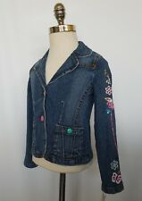 Guess Girls Denim Jean Jacket Floral Embroidered Sequin Size 6X NWT