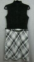 New $110 Jones New York Womens Size 4 Dress Heavy Knit Sleeveless Plaid NWT