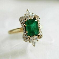 2.50 Ct Emerald Diamond Ladies Halo Engagement Ring 14K Yellow Gold Finish
