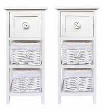 Set of 2 Slim Narrow White Hallway Nursery Kids Bedroom Bedside Table Cabinet