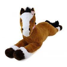 Peluche Gigante XXL 120 cm Cavallo Disteso Marrone e Bianco Morbido e Vellutato