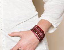 RETAIL $76 Park Lane Jewelry Bracelet WICKED Red glittering gems wrap #1769
