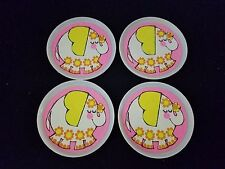 Vintage My Merry 4 Elephant Plates Child's Toy Dishes White Pink Retro Yellow