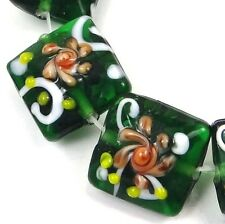 Lampwork Handmade Glass Green Emerald with Primrose Flower Square Beads (6)