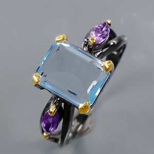 Fashion Art women Blue Topaz Ring Silver 925 Sterling  Size 8 /R177785
