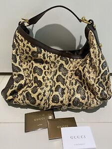 $3550 GUCCI PYHON SNAKESKIN LARGE JOCKEY HOBO GREAT CONDITION! 100% AUTHENTIC!