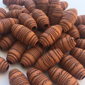 25X Tribal Boho Pattern Beads, 19x9mm Oval Acrylic Tan Brown Craft Macrame Bead