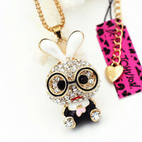 Betsey Johnson Enamel Crystal Cute Glasses Rabbit Bunny Pendant Chain Necklace