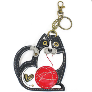 Chala Fat Cat Key Chain Coin Purse Leather Bag Fob Charm New