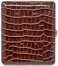 Brown Crocodile Print Leather Compact (Half Pack - 10 100s) Metallic Cigarett...