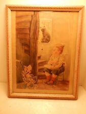 Vintage Framed Nursery Lithograph Print Little Miss Muffet Feodor Rojankovsky