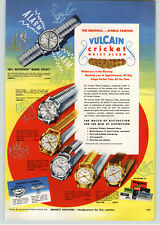 1956 PAPER AD 2 Sided Vulcan Crisket Wrist Watch Alarm Self Winding Rotomatic