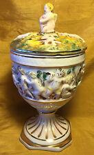 Vtg R. CAPODIMONTE Italian Pottery Lid URN/JAR w Cherubs w Dog/Music Instruments