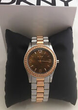 DKNY LADIES NY8479 WATCH ROSE GOLD STAINLESS STEEL CRYSTALS ESSENTIALS BNIB