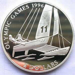 Bahamas 1995 Olympics 2 Dollars Silver Coin,Proof