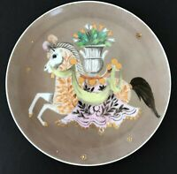 Vintage MCM Merlin Hardy Hand Painted Carousel Art Plate Brown w/ White Horse