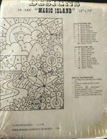 "Rug Crafters Magic Island Tufting Canvas Burlap Primitive 1977 35-580 22x33"""