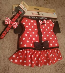 Disney Parks Tails Minnie Mouse Costume/Comfort Harness for Dog S & Lead🐶