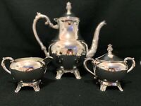 F.B Rogers Vintage Silver Plated Coffee Tea Pot Set 3 Pieces