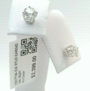 $2400 WOW CERTIFIED 1/2CTTW CT REAL Diamond Stud Earrings 14k SOLID WHITE Gold!