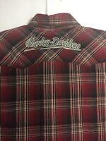 GENUINE HD Harley Davidson Men's L Tall Embroidered Garage Shirt Red Black Plaid