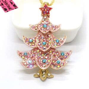 Hot Betsey Johnson Pink Star Bling Christmas Tree Crystal Pendant Women Necklace