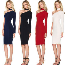 Women Choker High Neck Bodycon One Shoulder Long Sleeve Party Pencil Dress LV