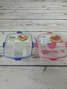 Sistema Salad to Go storage container. 37.1 oz. 1.1 L with fork 2 colors