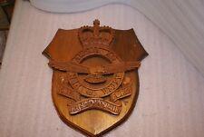 "Royal Canadian Air Force RCAF Folk Art Wooden Logo Plaque Signed Pow 14"" x 13"""