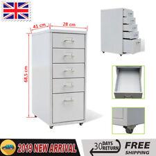vidaXL File Cabinet With 5 Drawers Grey 68.5cm Steel Storage Office Organiser