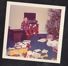 Vintage Photograph Adorable Little Boy Sitting on Toy Chest by Christmas Tree