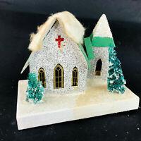 "Vtg lg White & Green Putz House 7""W Christmas Church Decoration Festive Japan"