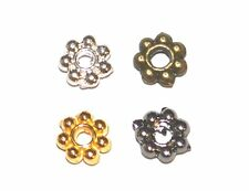 1000 SILVER GOLD BLACK PLATED SMOOTH METAL ROUND FLOWER JEWELLERY SPACER BEADS