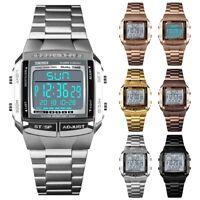 Waterproof Men's Stainless Steel LED Digital Sport Quartz Wrist Watch Gift NEW