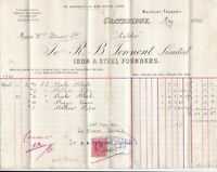 R. B. Tennent Limited C/bridge1906 Steel & Iron Founders Stamp Invoice Ref 41052